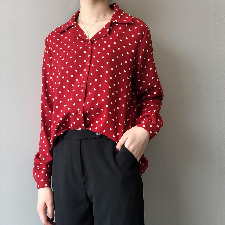 Noir Chemises Mode noir Dot Soie Mousseline Nouvelles Printemps rouge À Blanc blanc Décontracté De Manches Coréenne rouge Dames Blouse Longues 2019 Femmes Hauts Polka Impression En 8qg8Ur