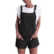 Women Bib Mini Jumpsuits Summer Elastic Waist Dungarees Linen Cotton Pockets Rompers Playsuit Casual Women Strap Shorts Pants