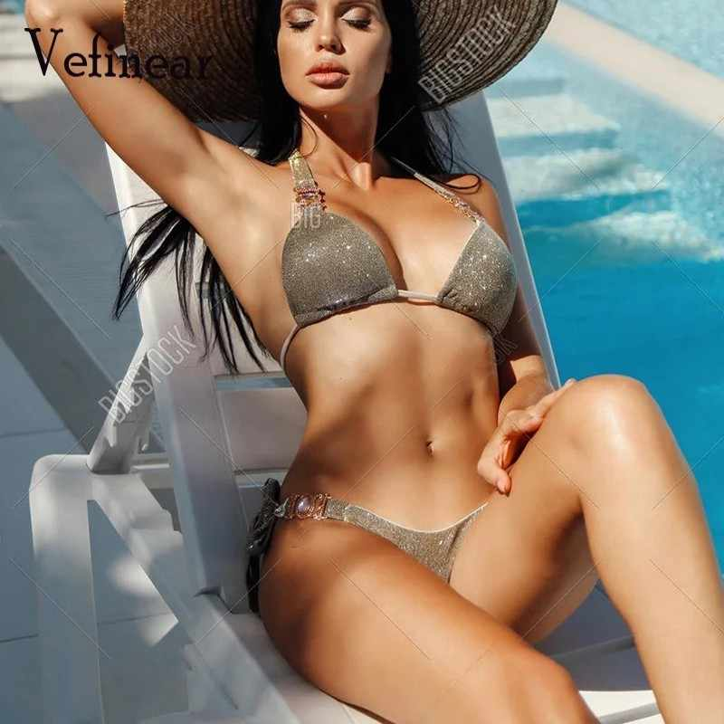 Sexy Push Up Bling Diamond Beach Wear Suits Women Bathers Bathing Suit  2019 Deep V Neck Halter Two Piece Sets