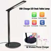 Multi function Folding Eye Protection LED Desk Table Lamp with Qi Wireless Desktop Charger USB Output