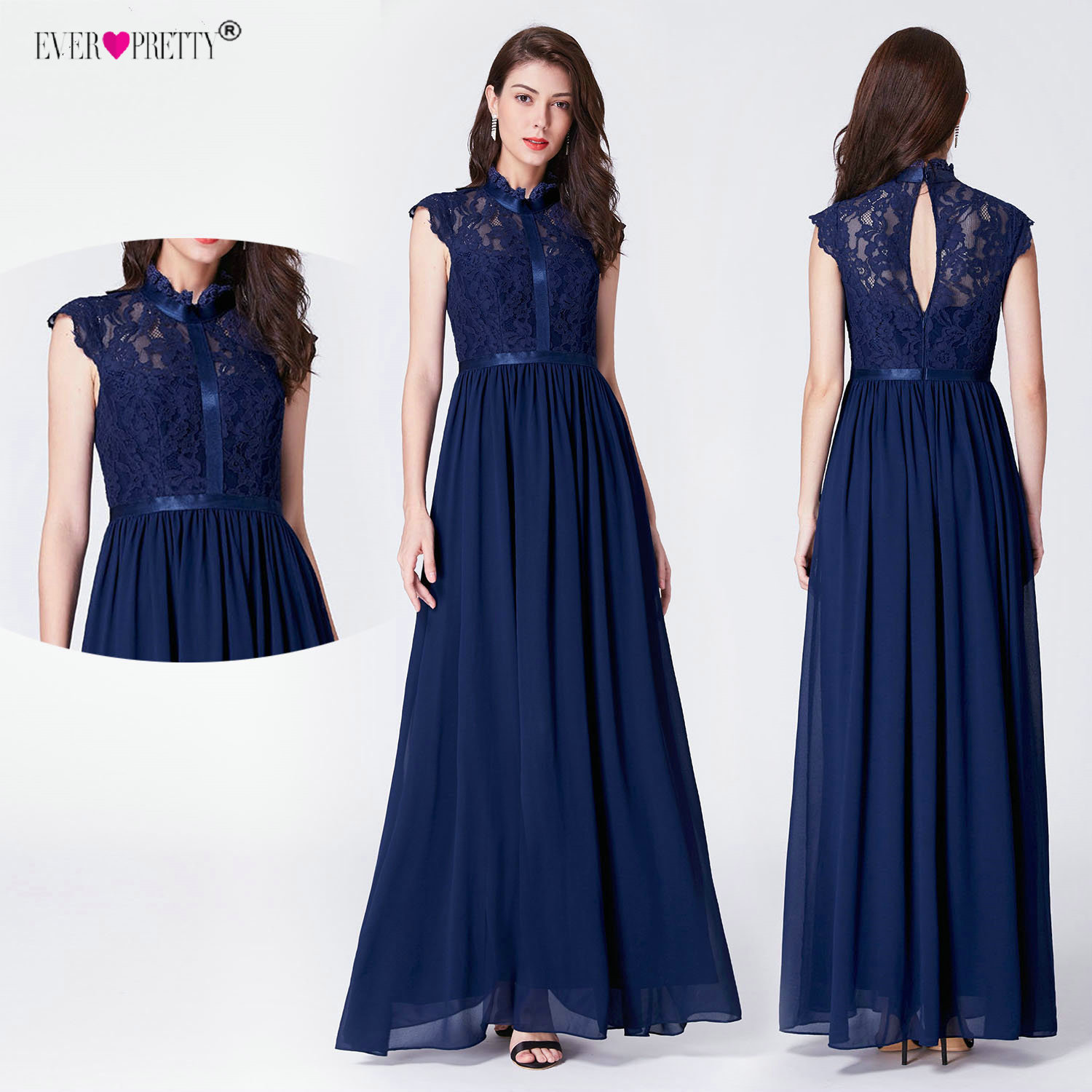 Navy Blue Lace Plus Size   Prom     Dresses   2019 Ever Pretty EZ07696 Elegant Sleeveless Ruffles A-line High Neck Wedding Guest Gowns