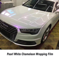 White Glossy Pearl Vinyl Wrap white to Purple Chameleon Gloss Film With Air Bubble Free Vehicle Stickers Foil 5ft X 65ft/Roll