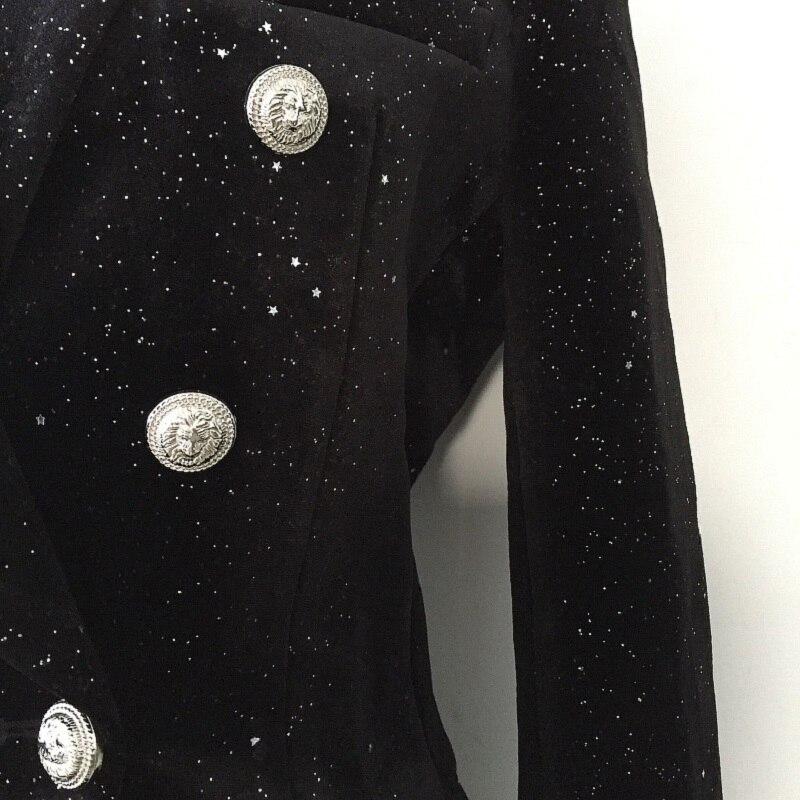 Brillant Manteau Noir Blazer Lady Boutons Double Boutonnage Paillettes Parti De 2018 Piste Luxe Designer Hiver Vêtements Femmes CTqZZt
