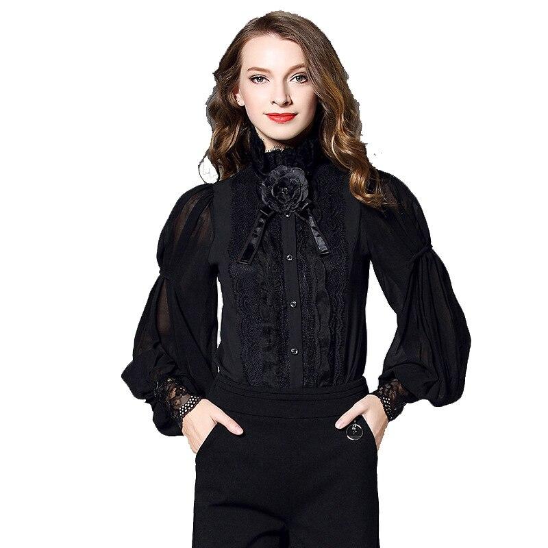 Chemisier de bureau en mousseline de soie noir floral dentelle femmes hauts et chemisiers 2019 élégant vintage sexy bohème à manches longues grande taille palace