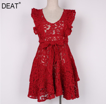 DEAT 2020 New Summer Fashion Women Clothes Hook Flower Lace V Neck Sleeveless Embroidery Bow Waist Adjust Sexy Dress WG22503L