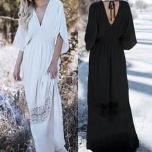 Celmia Bohemain Dress Women Sexy V Neck Elastic Waist Lace Patchwork Maxi Long Vestidos 2019 Summer Casual Party Robe Plus Size
