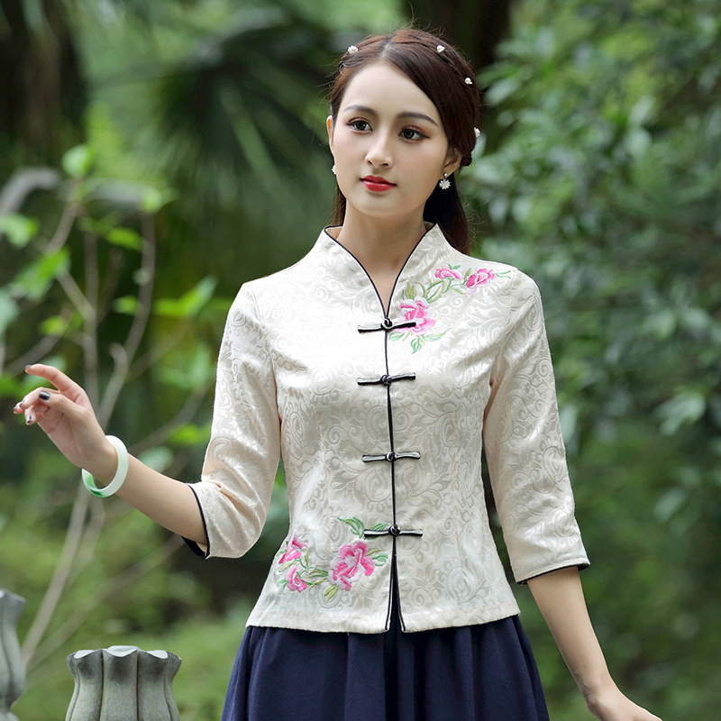 Traditional Chinese Clothing For Women China Shirt Chinese Style Tops Jacket Jacquard Cotton Printing Vertical Cheongsam Tops