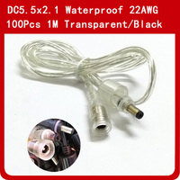 100 шт. DC5.5 x 2,1 мм 1 м водонепроницаемый коннектор питания постоянного тока 2pin Удлинитель силовой кабель 22AWG прозрачный черный для одноцветной