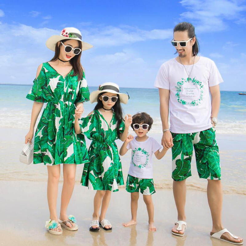 Household Matching Outfits Bohemian Fashion Father Son T-Shirt Brief pants Mom Daughter Attire Cotton Household Clothes 2019 Summer season Matching Household Outfits, Low cost Matching Household Outfits, Household Matching...