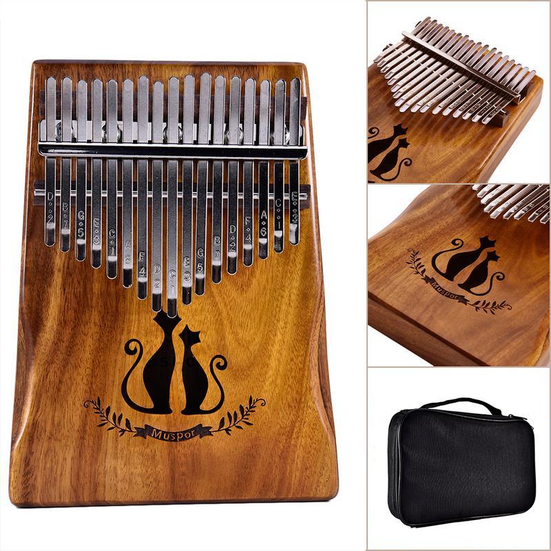 Muspor 17 Chiave Kalimba Solido Acacia Pollice Dito Pianoforte Mbira Gatto Con Il Sacchetto Regalo strumento Musicale