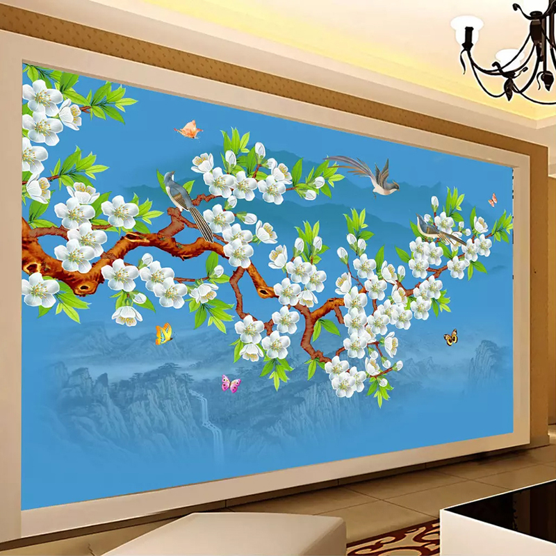 Custom Any Size 3D Photo Wallpaper Hand Painted Birds Flowers Mural Chinese Style Living Room Bedroom Wall Papers Home Decor ArtCustom Any Size 3D Photo Wallpaper Hand Painted Birds Flowers Mural Chinese Style Living Room Bedroom Wall Papers Home Decor Art