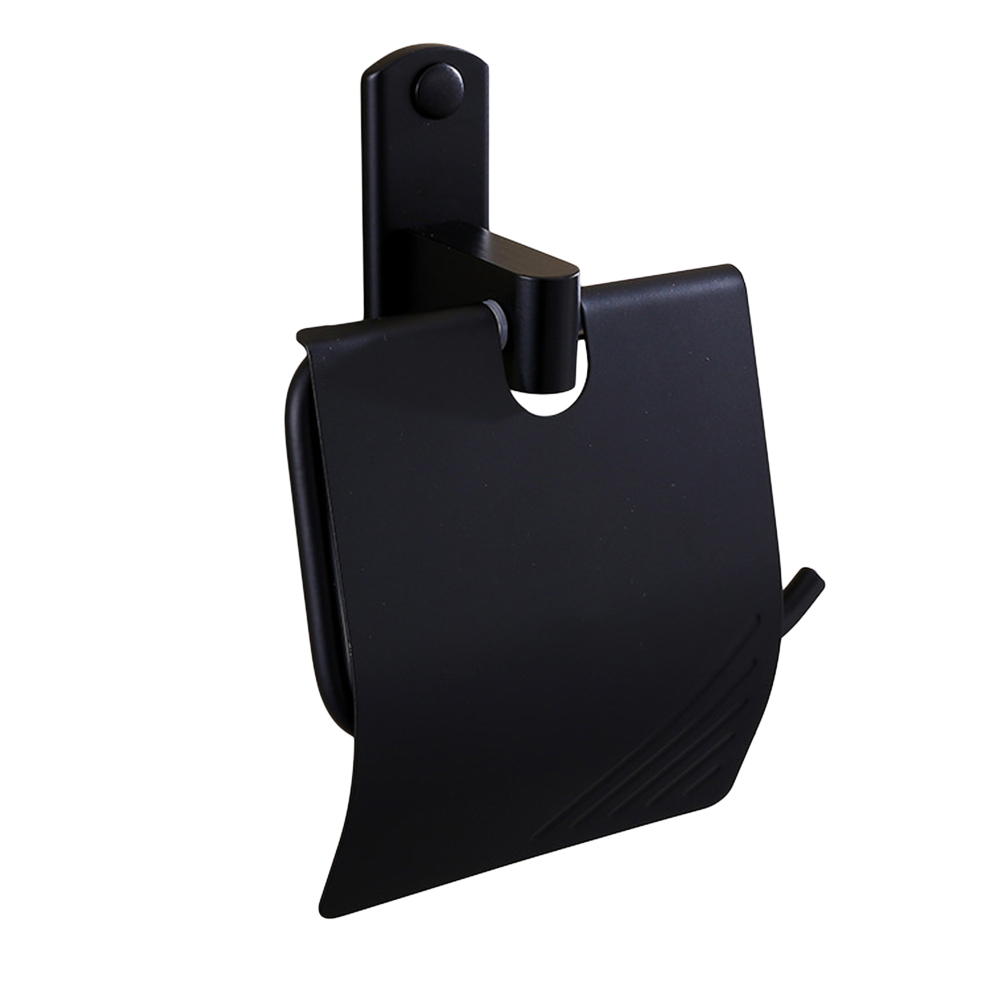 1 Pc Paper Roll Holder Wall Mounted Classic Alumimum Matte Black Rust Proof Tissue Holder For Toilet