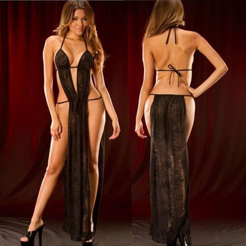 Sexy Lingerie Lace Bandage Mesh Dress Plus Size Long Skirt Perspective Mesh Slits Sexy Lingerie Pajamas Bodysuit E016
