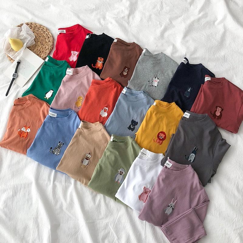 Animal Embroidery Women T Shirt Long Sleeve Candy Kawaii Female Tee Shirts Tops