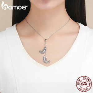Image 5 - BAMOER Vintage Genuine 925 Sterling Silver Feathers Shape Long Chain Feather Necklaces Pendants Sterling Silver Jewelry SCN322