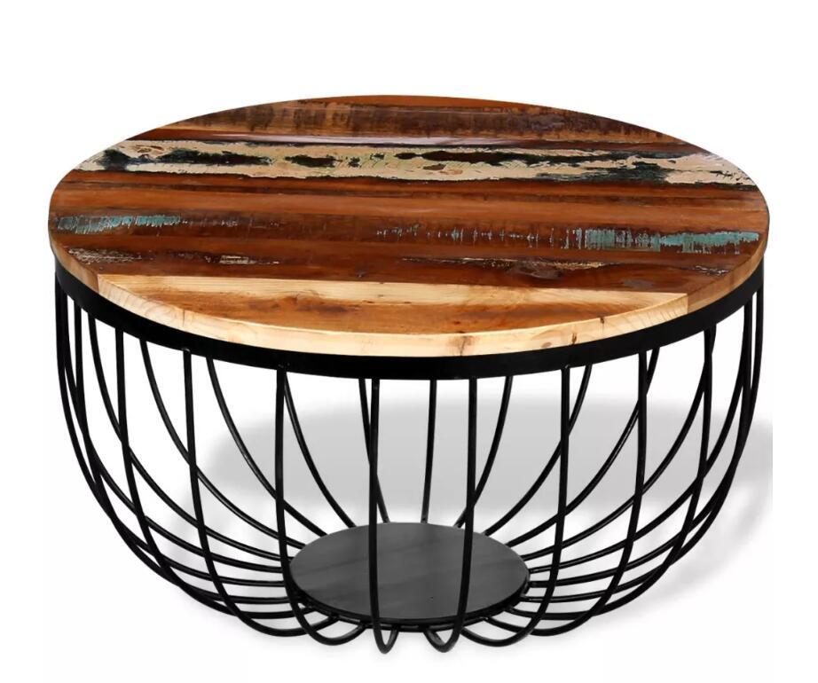 VidaXL nouveau design Table à thé basse ronde en bois massif récupéré avec pieds en fer laqué table de salon ronde créative