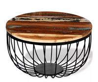 vidaXL new design Reclaimed Solid Wood Round Coffee tea Table with lacquered iron legs creative living round room table