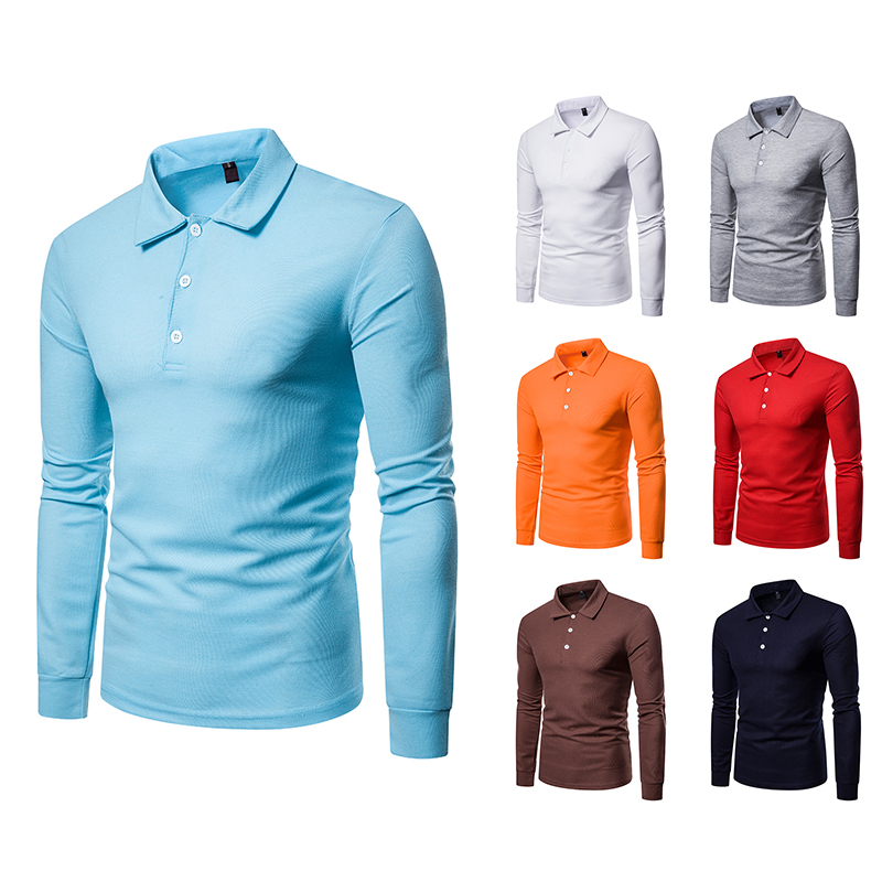 2019 Limited Rushed Full Cotton Solid Regular Breathable Men   Polo   Shirt Men's Pure Color Long Sleeve Lapel Casual