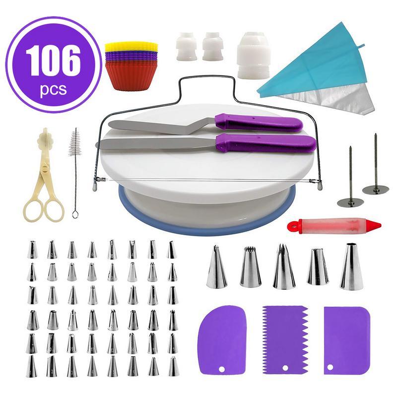 106 Pieces Multi function Pastel Cake Decorating Fondant Tube Turntable Kitchen Tool Dessert Baking Pastry Supplies