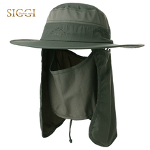 FANCET Summer Unisex Sun Hats For Men Women Fishing Sun Protection Adjustable Breathable Face Mask Outdoors Bucket Hats 99750