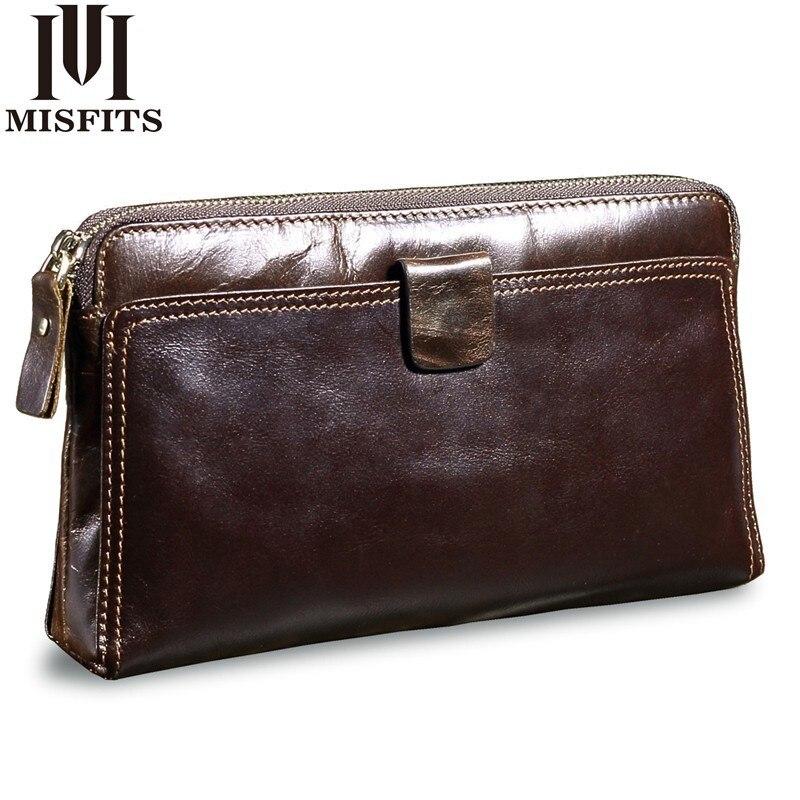 100% QualitäT Misfits Men Clutch Bags Genuine Leather Man's Zipper Organizer Wallet High Capacity Long Purse Male Multi Function Phone Wallet Wir Nehmen Kunden Als Unsere GöTter