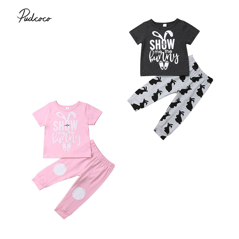 Baby Boys Girls Rabbit Bunny Easter Outfits Short Sleeve T-Shirt Pants Set Summer Clothes