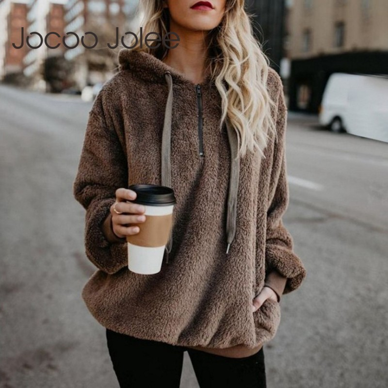 2019 New Faux Fur Fluffy Hoodies Teddy Coat Women Casual Pullovers Drawstring Sweatshirt Sudadera Top Clothes Plus Size 5XL
