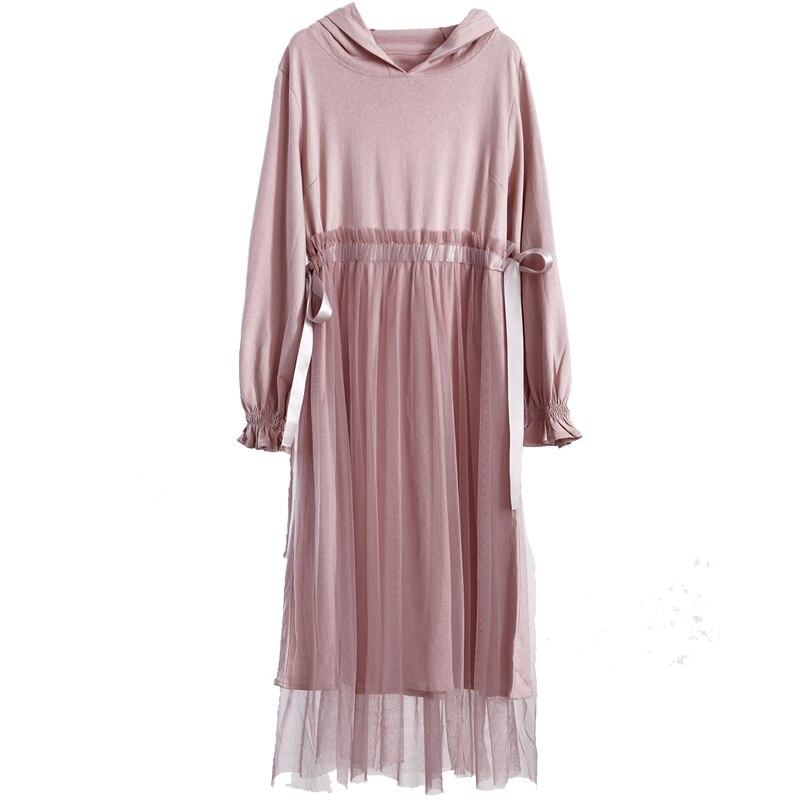 2019 nouveau Vintage femmes robe à capuche Patchwork maille premier amour robes rose 9535