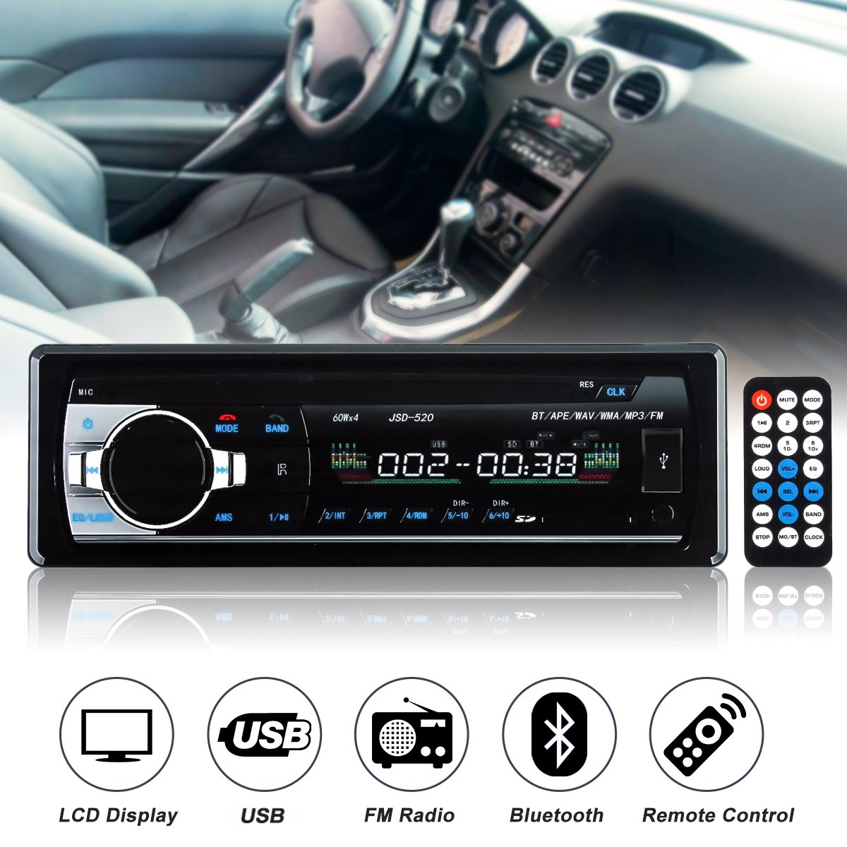 12V-24V 1 Din In Dash Car Radio bluetooth Auto Car Audio Stereo Player Support Phone AUX-IN MP3 FM USB Remote Control