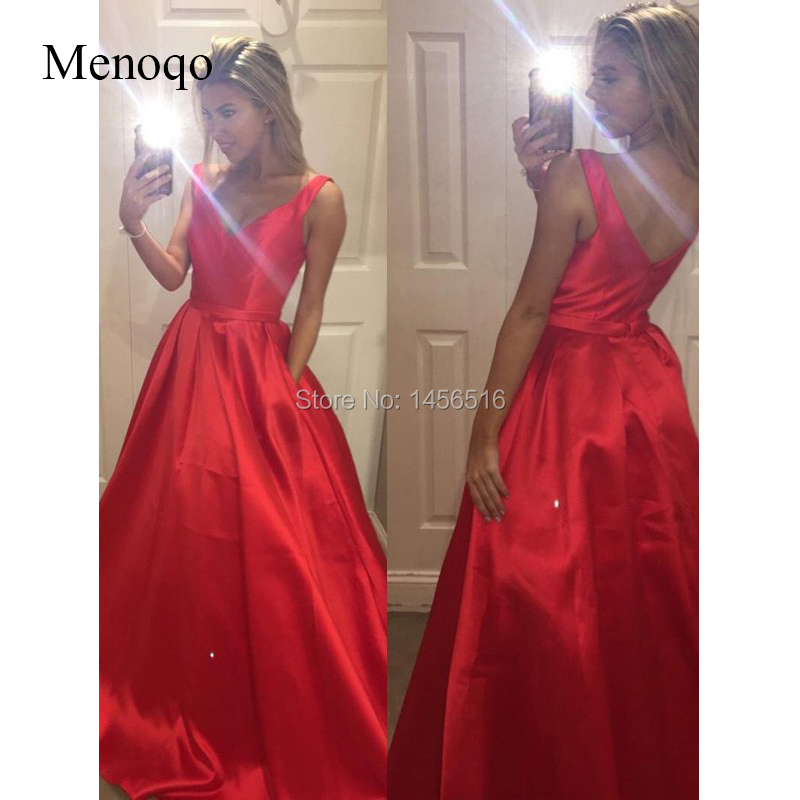A-Line V-Neck Sleeveless Satin Sweep Train Satin   Prom     Dresses   with Pockets Red