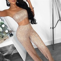Tobinoone Off shoulder sequined lace jumpsuit romper women Sexy backless party overalls Summer sleeveless jumpsuit Clubwear