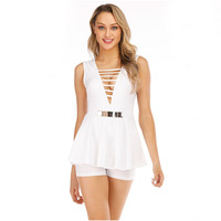 white jumpsuit bodysuit bandage streetwear shorts one piece bodycon jumpsuit summer womens clothing playsuits v neck