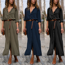 Women Loose Long Shirt Dress Fashion Single Breasted Ladies Casual Solid Color Sleeve Maxi Dresses Plus Size