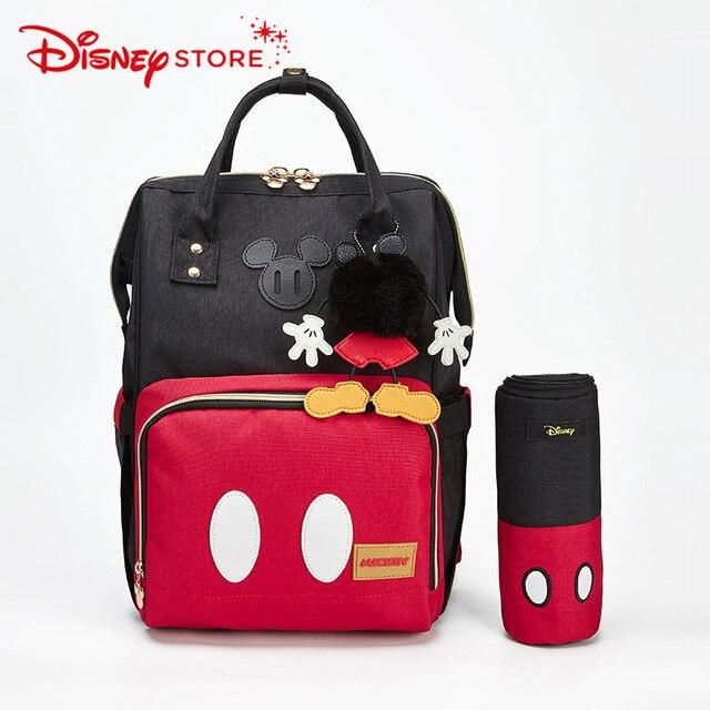 Disney Saco de Fraldas Do Bebê Saco de Múmia com Aquecedor USB Com Molhado Saco de Fraldas Maternidade Saco De Carrinho De Criança Mickey Mochila Para O Bebê cuidados