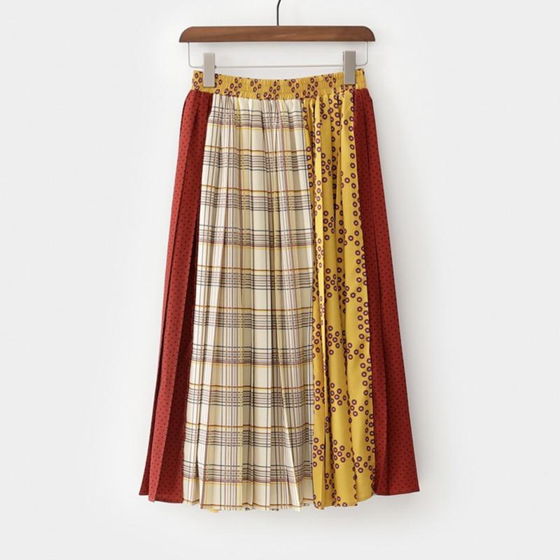 Mujer Vestido Nueva Plaided Verano Ropa Reddish Wd78607m Y De Alta Yellow Moda Patchwork Faldas Cintura 2019 Muerte Falda Primavera fwq7510g