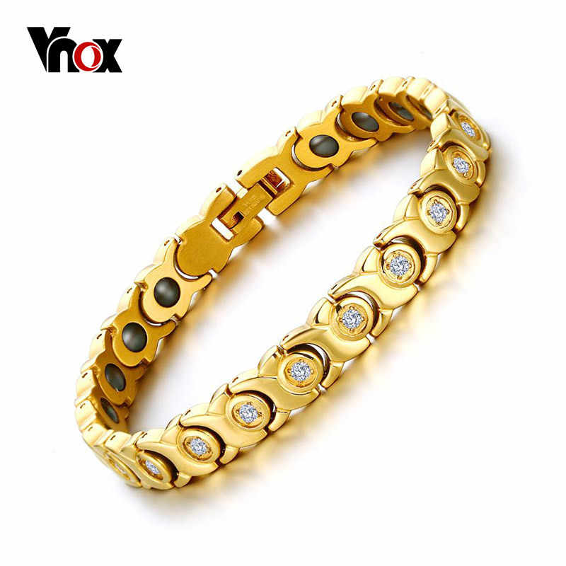 Vnox  Womens Chain Bracelet Bangle Zircon Stone Hematite Magnetic Health Care Nice Jewelry