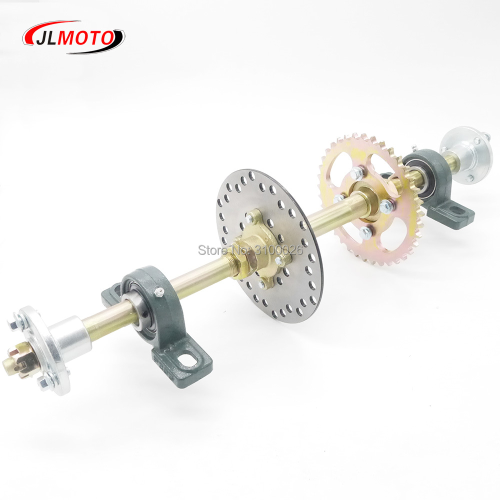 610mm Rear Axle Assy With 428# 37T Sprocket 160mm Brake Disc UCP204 Bearing M8*3 Wheel Hub Fit For DIY UTV ATV Buggy Bike Parts