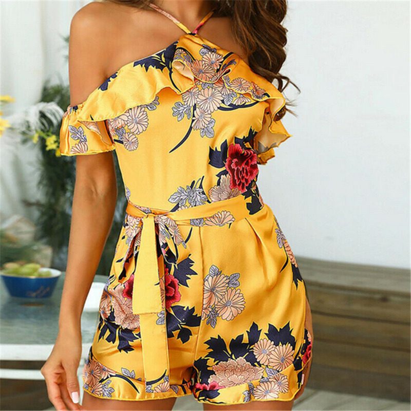 2019 Summer Elegant Halter Floral Ruffle Women Playsuit Sleeveless Black Yellow Jumpsuits Rompers Casual Beach Overall Plus Size