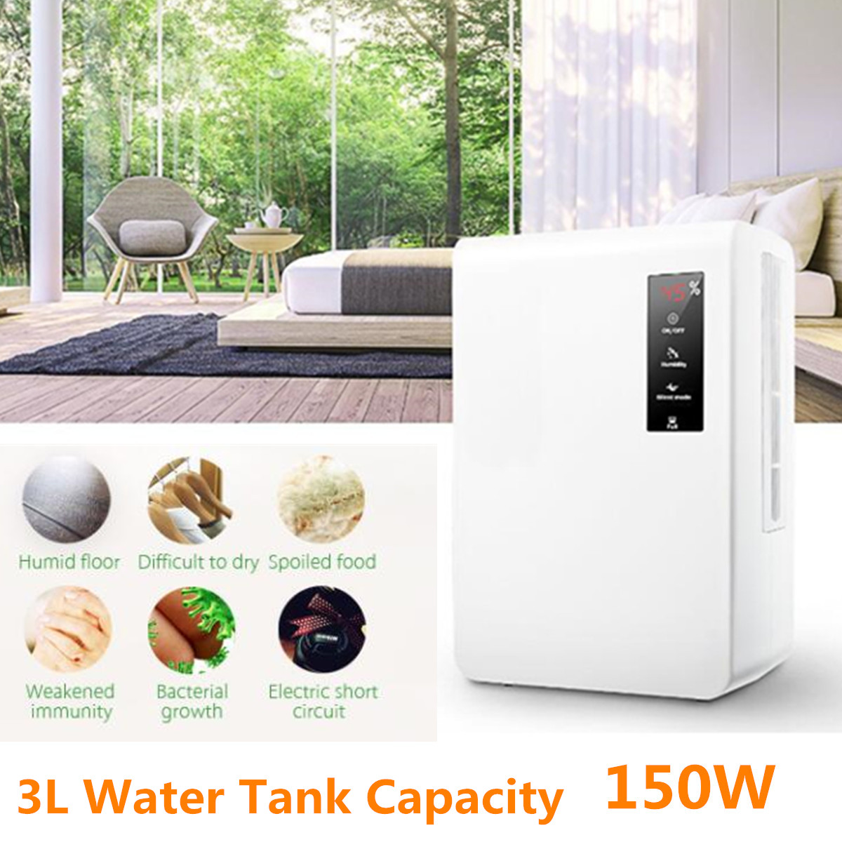 AX3 3L 150W Dehumidifier Home Dehumidifier Mute Bedroom Basement Moisture in Home Kitchen Bathroom Basement Absorption Dryer