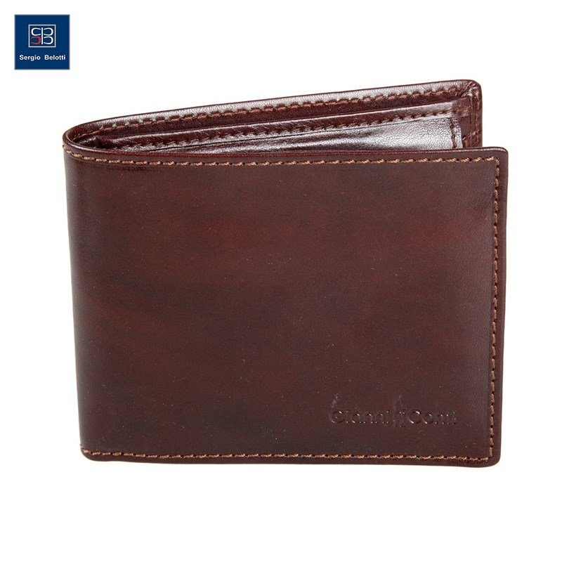 Coin Purse Gianni Conti 907018 Brown simline vintage genuine crazy horse cow leather men men s long hasp wallet wallets purse zipper coin pocket holder with chain