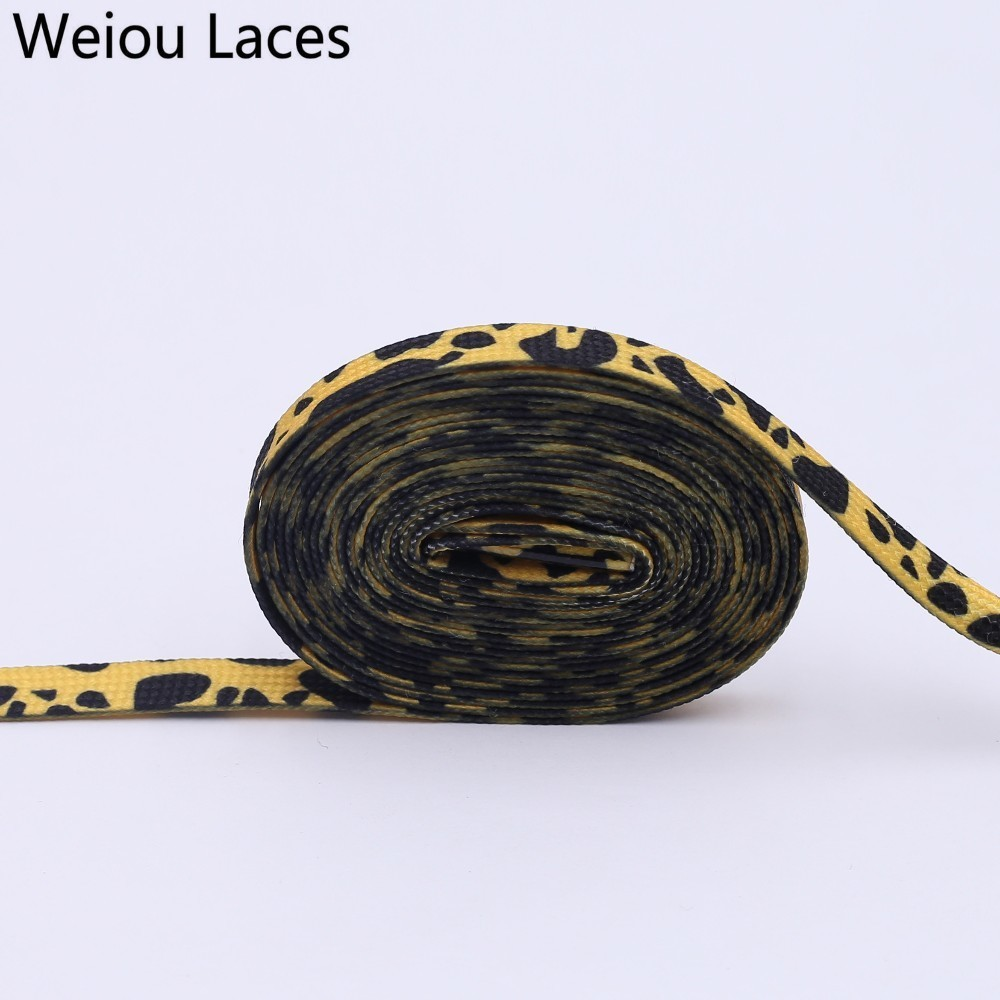 Weiou 7mm Polyester Double Hollow Flat Printed Classic Leopard Laces Sublimated Heat Transfer Shoelace Digital Print Shoestrings