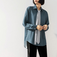 8215637d05 Shirts Turn Down Collar Peacock Blue Vertical Stripe Long Sleeve Loose Chic  Tie