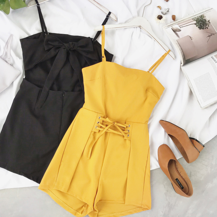Summer Urban Women Pure Cross Drawstring Playsuit Shorts Ladies Elegant Backless Bowknot Romper Sexy Shorts Overalls Jumpsuits