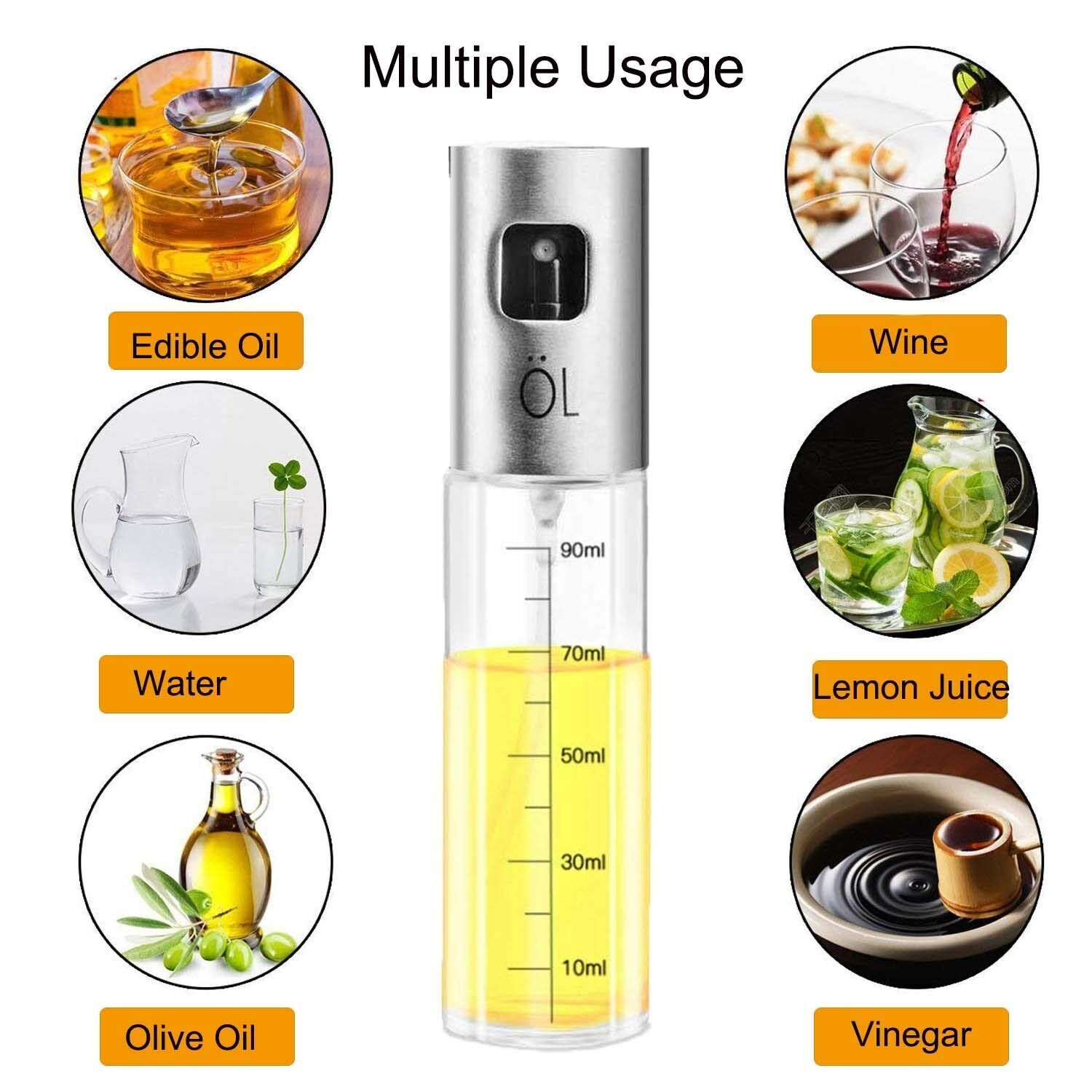 US $7 52 5% OFF|Food Oil Vaporizer, Stainless Steel Vinegar Oil Spray,  100ml Glass Olive Oil Bottle with 1 Cleaning Brush and 1 Mini Funnel-in  Gravy