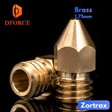 DFORCE Super high quality Zortrax Brass Nozzle for Hotend Kit Zortrax M200 M300 3D printer 1.75MM Screw thread M6 EXtruder funssor zortrax m200 extruder stepper motor with driver gear for zortrax m200 3d printer parts