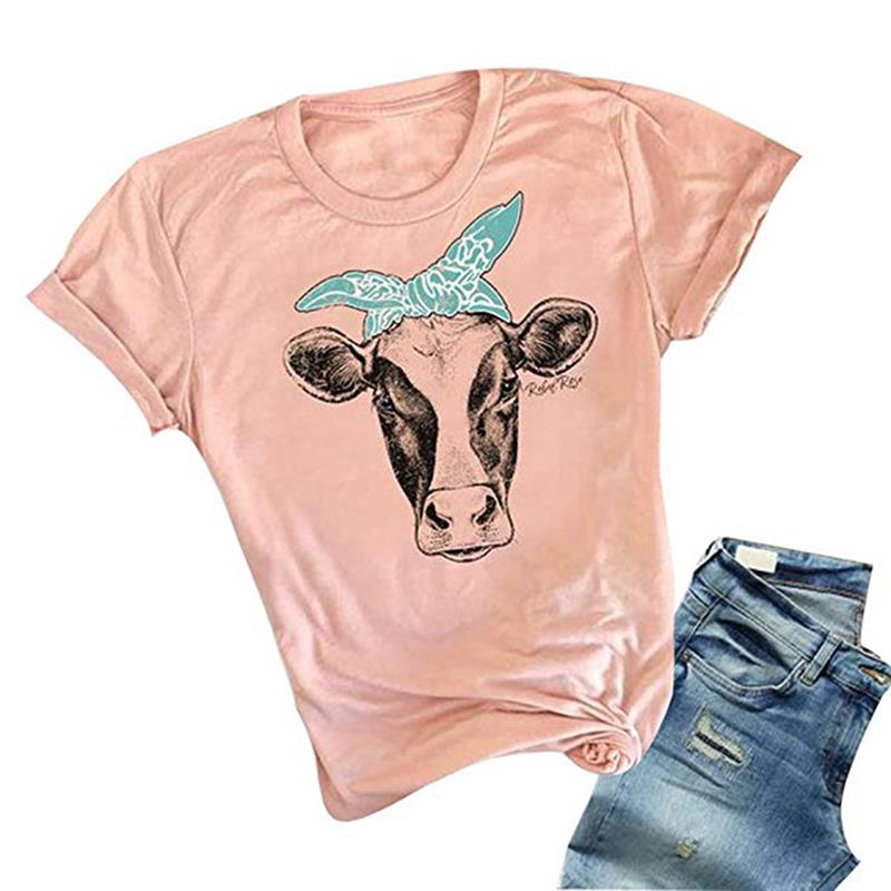 Fashion Graphic Tees Women Cow Head Printed Short Sleeve Casual Basic Top T-Shirt 2019 New Summer Tumblr Clothes For Female