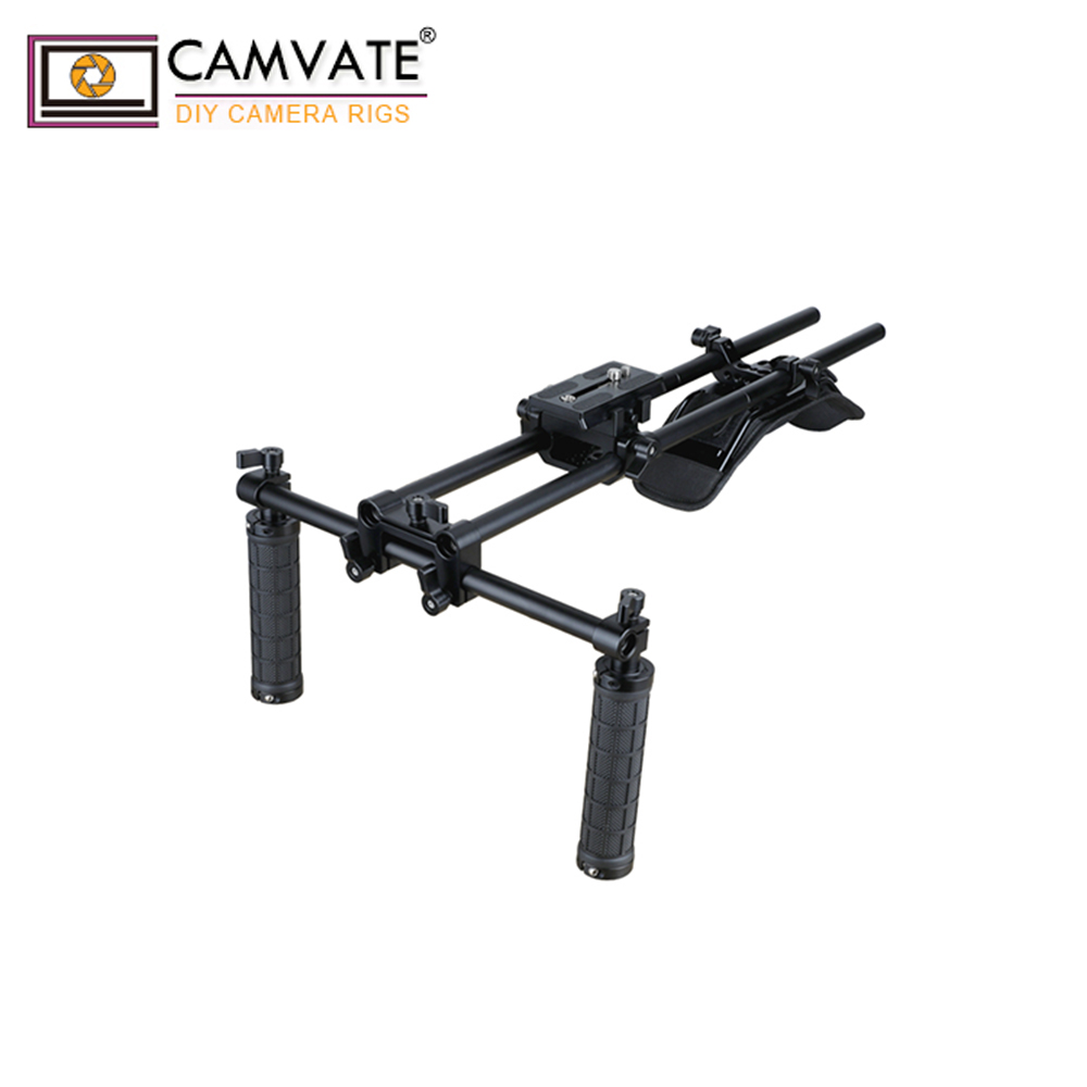 CAMVATE Dual Rubber Grip Handheld Shoulder Mount Rig C1963
