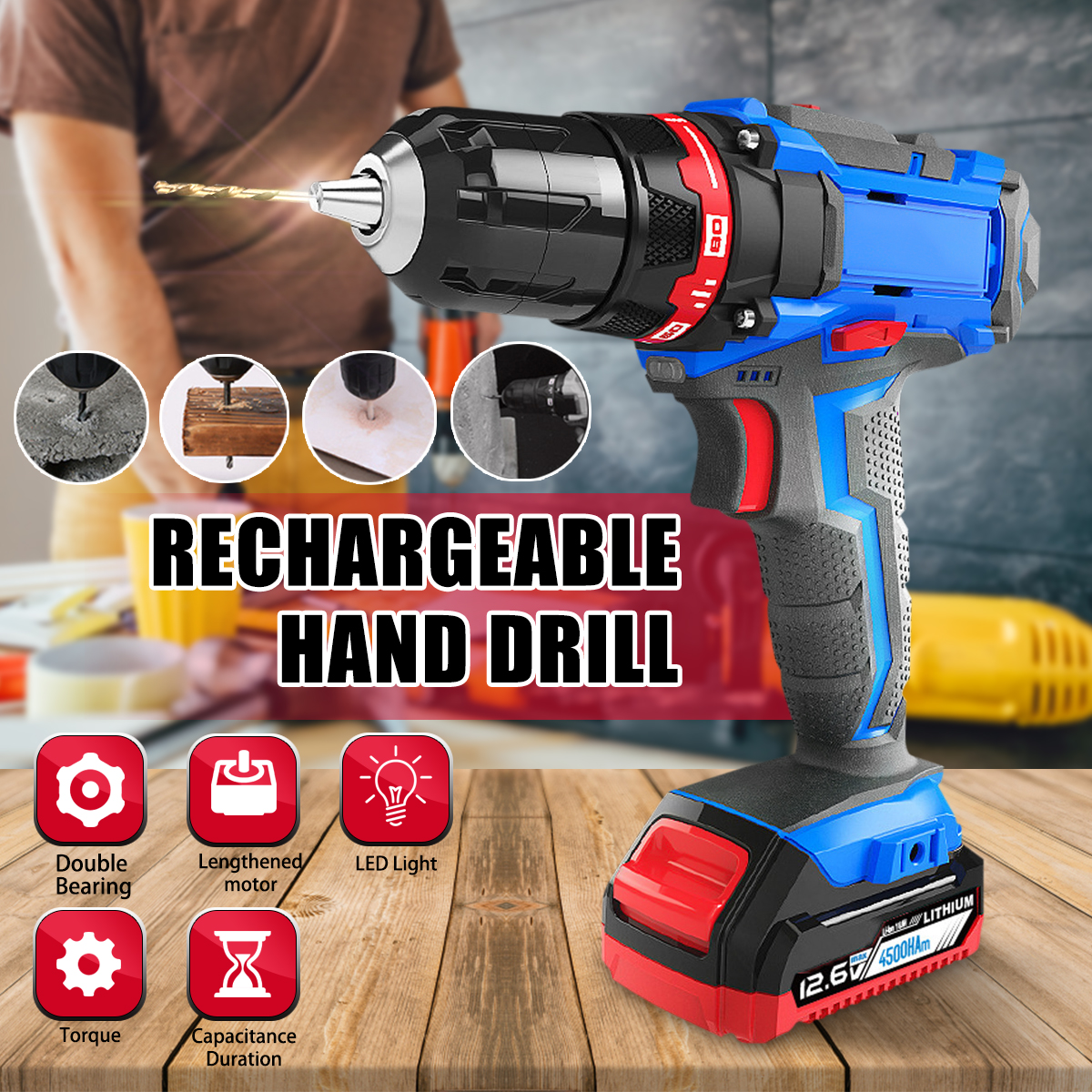 цена на 21x20x5.5 cm Electric Drill Double Speed Lithium Cordless Drill Household Multi-function Electric Screwdriver Power Tools