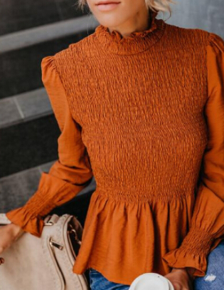 Women Mock Neck Elegant Slim Fit Shirt Women Long Sleeve Ruffle Casual Blouse Tops Vintage Fashion Female Chiffon Blusa Clothing