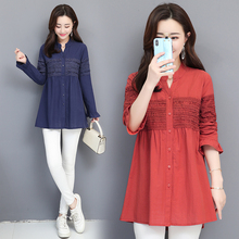 Fashion Womens Tops And Blouses Female Casual V-neck Long Sleeve Button Loose Cotton Linen Shirt Top Blusas Mujer De Moda